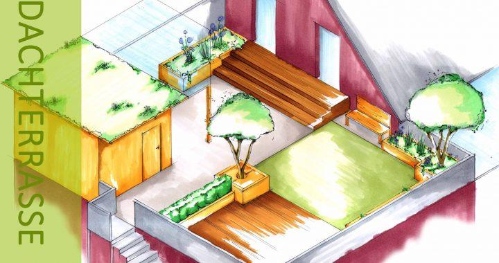 Entwurf Dachterrasse freihand Skizze mit Copic
