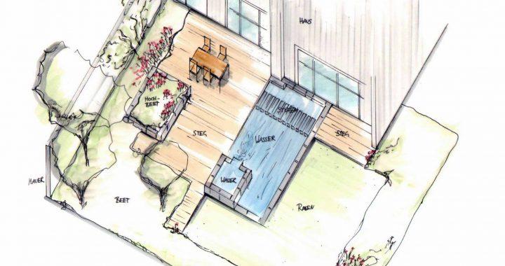 Entwurf Hausgarten freihand Skizze mit Copics