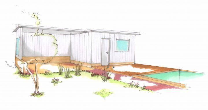 Freihand Skizze Gartenhaus